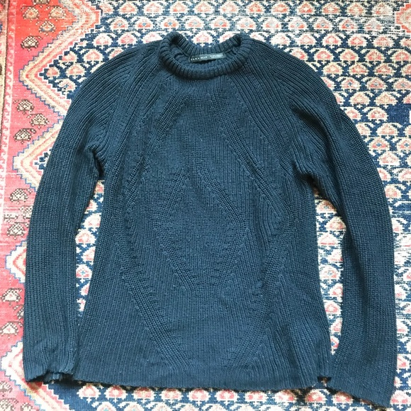 209c7fc1 Zara Sweaters | Man Navy Cable Knit Sweater Size M | Poshmark